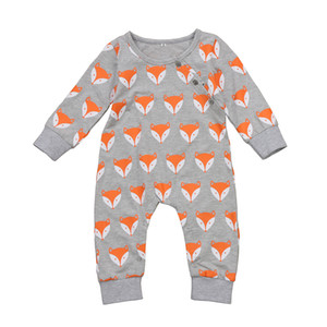 Wholesale baby clothes fox for sale - Group buy Toddler infant baby rompers fox head jumpsuits newborn boys girls bodysuits outfits one piece children cotton kids clothing long sleeve