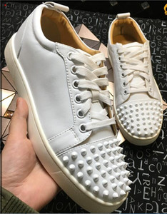 2017 [Original Box] France Desingers Party Shoes white red crystals Nails Spikes Red Bottom Sneakers Suede Leather 4 Seaons Wear, 36-46
