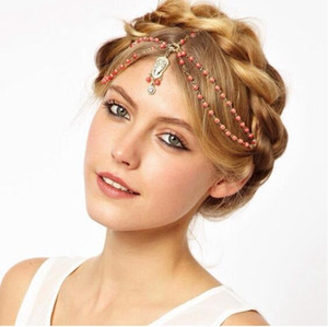Wholesale Bohemia Hair decoration hair band head dress headbands fashion indian boho white red beaded head piece women head chain hair jewelry