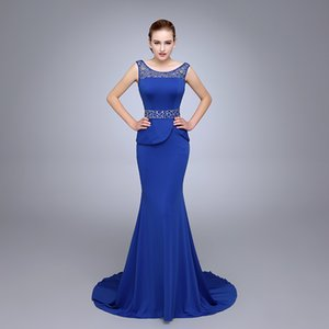 Wholesale HS14 Shimmering Sheer Neck Beaded Prom Gowns Wear Yoke Mermaid Silhouette Floor Length With Straps Royal Blue Long Prom Dresses