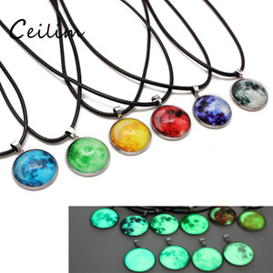 Wholesale New Arrivals Glow In The Dark Nebula Leather Necklace Galaxy Astronomy Pendant Space Universe Necklace Milky Way Jewellery Fit Lover Gift