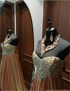 Wholesale 2019 Fall New Designer Gold Off Shoulder Aline Chiffon Long Special Occasion Dress Evening Dress Prom Dress With Diamonds and Beads