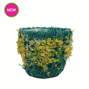 Wholesale PlantPot Garden Tapered Shape Straw flower Pots Colorful Stained Planter With Waterproof Plastic Bag Inside Pot Product Code C