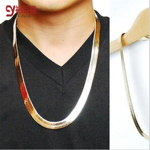 Wholesale Fashion Style Gold snake bone keel fishbone hip hop k Gold And Silvery Plated Chains necklace jewelry For Bar Club Male Female
