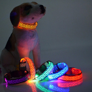 DHL & SF _EXPRESS Pet Dog collar Leopard Nylon Safety LED Collar Colorful Flash Light Neck (2)