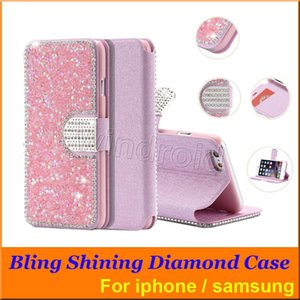Wholesale Bling Rhinestone Diamond Flip Leather Stand Wallet Case Cover with Card slot For Iphone SE s Plus SAMSUNG S7 S6 Note All models