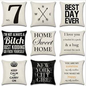 Letter Decorative Pillow Case Geometric Dot Wave Cross Cushion Cover for Sofa Seat Xmas Home Decor Black White YW67