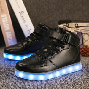 Wholesale Quality Colors Kids LED Shoes Autumn Winter High Top Children Growing Sneakers For Boys Girls Luminous Lights Shoes Solid