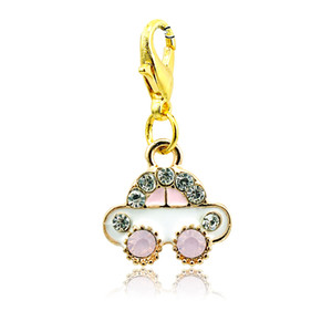 Wholesale Fashion Floating Charms Gold Plated White Rhinestone Car Lobster Clasp Alloy Animal Charms DIY Jewelry Accessories