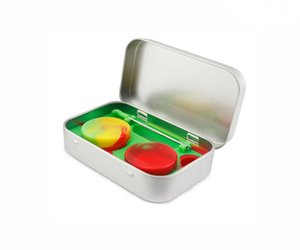 Wholesale DHL Free in Metal Silicone Storage Kit with ml Silicon Wax Container Oil Jar Base Wax Dabber Tool Metal Case