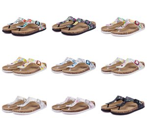 31 color Hot sell summer Men Women flats sandals Cork slippers unisex casual shoes print mixed colors flip flop size 35-45 on Sale