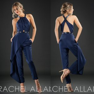 Rachel Allan 2017 Cheap Evening Dresses Dark Navy Sleeveless Hollow Back Formal Wear Ankle Length Custom Made Party Pants Suit on Sale