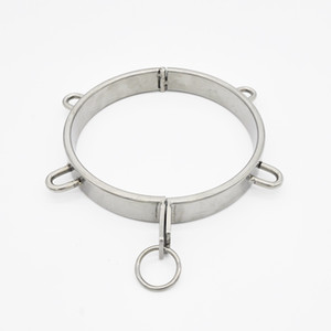Wholesale hot male sex bondage resale online - Unisex Bondage Stainless Steel Tow Collar Chastity Hot New Arrival Round Ring Sex Product Device A095