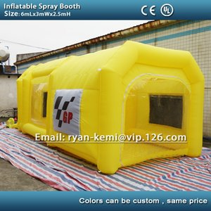Wholesale m yellow inflatable spray booth inflatable car paint booth tent custom inflatable spray tent
