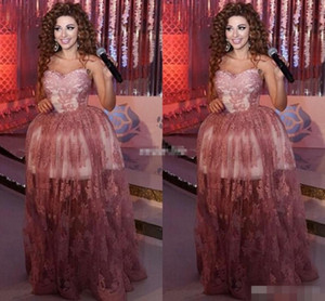 2019 Myriam Fares Ball Gown Celebrity Evening Dresses Sweetheart Appliqued Lace Long Prom Gowns Arabic Special Occasion Dress High Low Tull on Sale