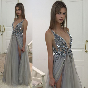 2017 Sexy Silver Gray Evening Dresses V Neck Illusion Bodice Sequins Beaded Tulle Split Backless Berta Prom Dresses Evening Party Dresses on Sale