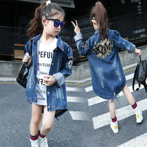 Wholesale Girls Denim Jackets Jeans Back Shinny Flower Pattern Children Cowboy Long Style Top Dress Coat