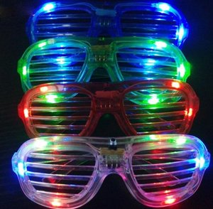 Wholesale 2016 new Shutters LED Glow glasses concert cheer Halloween props dance Fluorescence luminous glasses Led Toy Christmas dhl gifts