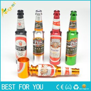 Wholesale New hot Creative Smoking Accessories Mini Smoke Pipe Metal Smoking Pipe Small Popular Beer bottles pattern Big and Small size Pipe