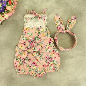 Wholesale Summer Lace Pattern Rompers Floral Baby Girls Romper Set Pink Lace Baby Clothing with Headband Girls Clothes