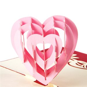 Wholesale 3D Pop Up Greeting Post Card Handmade Kirigami Heart Shape Thanksgiving Valentine s Day Gifts Card