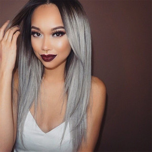 Wholesale Middle Part Malaysian Ombre Hair Wig 1B Grey full lace Wig With Silk Base 4*4 Sliver Grey Lace Front Wig With Baby Hair