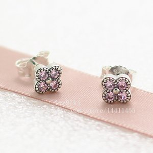 Wholesale 2016 New High quality Sterling Silver Oriental Blossom with Pink CZ Stud Earrings Fits European Jewelry Earrings