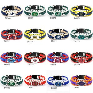Mix Styles Football Team Paracord Survival Bracelets Custom Made Camping Sports Bracelet NCAA College Charm team umbrella bracelet