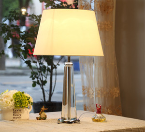 Wholesale American ModernTable Lamps E27 Bulb Fabric Lamp Shade Crystal Desk Lamp for Bedroom Decoration Light Fixture