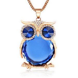 Wholesale 2016 New Fashion Statement Owl Crystal Necklaces Pendants for Women As A Gift Gold Silver Chain Long Jewelry collier Femme
