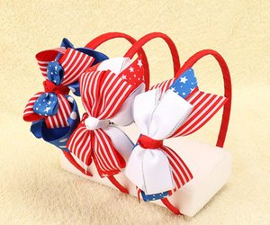 Wholesale DHL FREE American Flag Striped Ribbon Plastic Hairband Patriotic Hair Bows For Kids Girls Headbands Children Hair Accessories