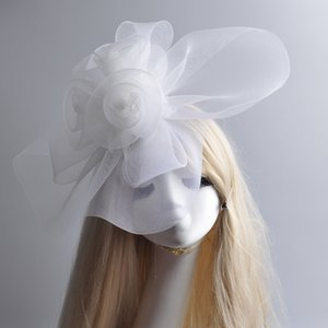 Wholesale Large Fashion New White Net Feather Fascinator Handmade Hat Hair Clip Races Vintage Wedding Hat
