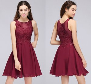 Wholesale Burgundy Lace Beaded A Line Chiffon Short Homecoming Dresses Cocktail Party Dresses For Young Girls Jewel Neck Cheap Graduation Gowns CPS707