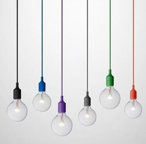 Wholesale Art Decor Silicone E27 Pendant Lamp Ceiling light bulb Holder Hanging lighting Fixture base Socket Modern silica gel retro Colorful light