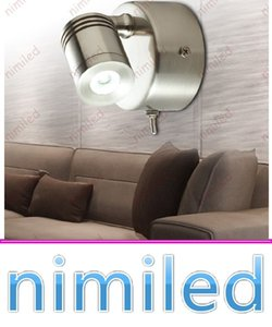 Wholesale nimi1025 Bed Headboard Lights W CREE LED Chrome Nickel Brushed Finish Wall Lamp With Switch Hotel Residential Motorhome Boat Lighting