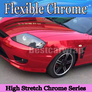 Wholesale wrapped car red chrome for sale - Group buy Premium Chrome Red Glossy Vinyl Wrap with air release high stretch flexiable red chrome mirror Car wrap foil x20m Roll x66ft