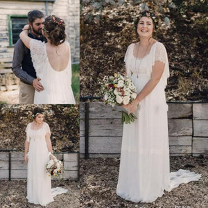 Wholesale Ivory Bohemian Wedding Dresses Plus Size Maternity Lace Short Sleeves Cheap Scoop Open Back Country Spring Wedding Bridal Wedding Gowns