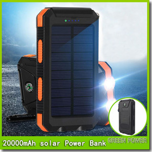 Wholesale 20000mah Travel Portable Waterproof Solar Power Bank USB External Solar Panel Charging Dual LED Light Compass For All Phone