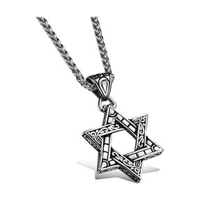 Wholesale stainless steel star pendants resale online - Mens Vintage Biker Gothic Lucky Star of David Stainless Steel Men s Pendant Necklace Silver Black With Necklace Chain
