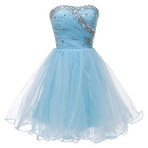 Beaded Crystal Organza Ball Gown Homecoming Dress Short 2019 Lovely Sweetheart Party Gowns Lace Up Real Photo
