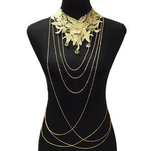 Lace Flower Necklaces Pendants Women Gold Body Chain Necklace Big Collares Chokers Body Chains Luxury Gothic Jewelry Colar 84 on Sale