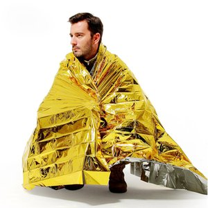 Wholesale 10pcs WaterProof Emergency Survival Rescue Blanket Foil Thermal Space First Aid Sliver gold Rescue Curtain x130x20mm Outdoor