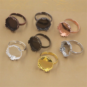 BoYuTe 20Pcs 15MM Cabochon Ring Base Setting 7 Colors Plated Adjustable Ring Blanks Bezel Tray Diy Jewelry Making