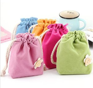 Wholesale Candy color sanitary napkin bag Pull type beam pocket Pouch Storage Bag Personalized Chinese Fabric Drawstring Gift Packaging JF