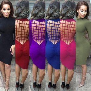 Wholesale Sexy Backless long sleeved Slim Bandage Dresses Party Night Club Bodycon Dresses for Women Jumpsuits Evening Wear