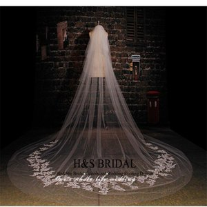 Wholesale Real Picture m Length m Width Custom Made White Ivory Long Wedding Veil With Lace Bridal Wedding Accessories Hot Sell