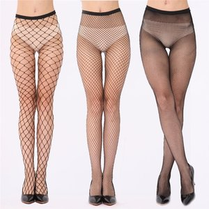 Wholesale Elastic Sexy Fishnet Stockings Mesh Pantyhose Female Mesh Black Tights Thigh High women Stocking Long Stockings Over the Knee Socks