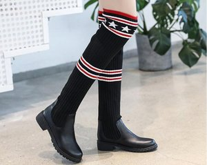 Wholesale Women college style Boots Autumn Winter Ladies Fashion Flat Bottom Boots Shoes Over The Knee Thigh High Suede Long Boots Brand