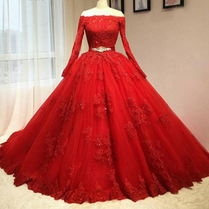 Wholesale Luxury Design Long Sleeve Red Wedding Dresses Off Shoulder Beaded Belt Lace Ball Gown Bridal Gowns Lace up Back Custom Size
