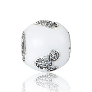White charms love mouse original S925 sterling silver fits for diyl style charm bracelets H9